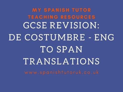 De Costumbre Translations English to Spanish