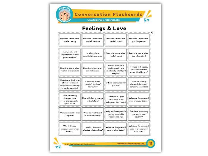 Feelings & Love - Conversation Flashcards