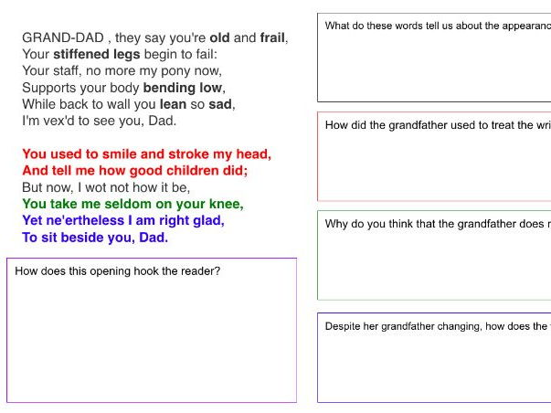 Relationships Poetry - A Child to His Sick Grandfather (SEN friendly resource)