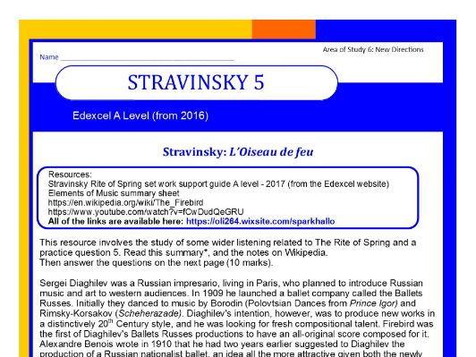 Edexcel Music A level (from 2016) Stravinsky worksheet 5
