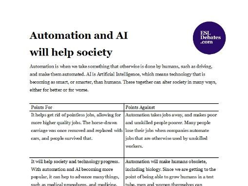 Debate Lesson Plan - Automation and AI will help society