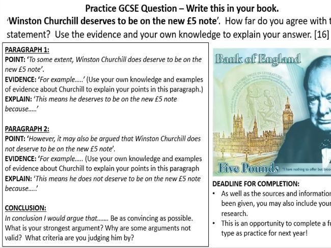 KS3 History How far does Winston Churchill deserve to be on the new £5 note?