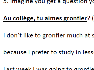 French GCSE My School. Responding spontaneously to questions.