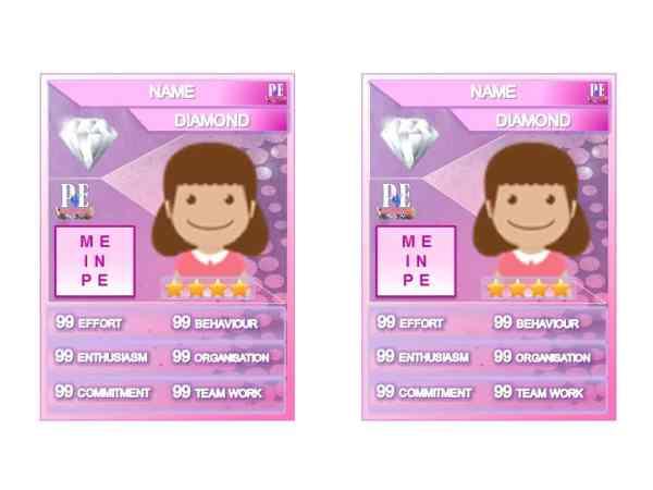Merit PE Reward Cards – 'Me in PE' Female Achievement Card Template   PE4Learning