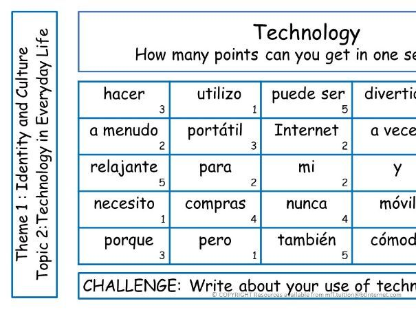 GCSE Spanish Theme 1 Sentence Challenges