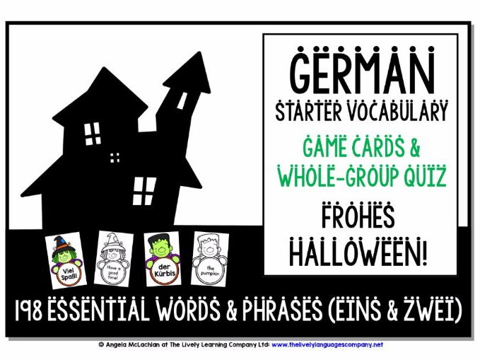 GERMAN VOCABULARY HALLOWEEN GAMES & QUIZZES 198 WORDS & PHRASES