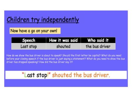 Grammar: Direct Speech (Year 3/4)