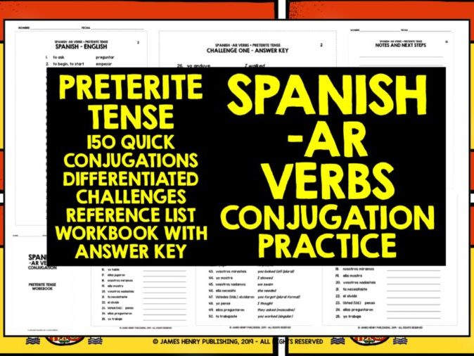 SPANISH PRETERITE TENSE AR VERBS CONJUGATION DRILLS