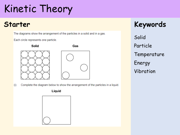 KS3 Heat and Energy - Lesson 1 - Kinetic Theory