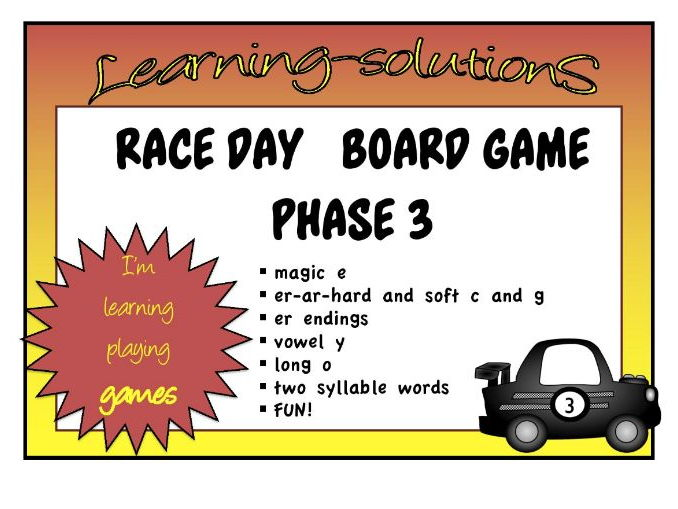 PHONICS - RACE DAY BOARD GAME - 30 Games - Phase 3 - Magic e/ar/er/vowel y/ow/  + more