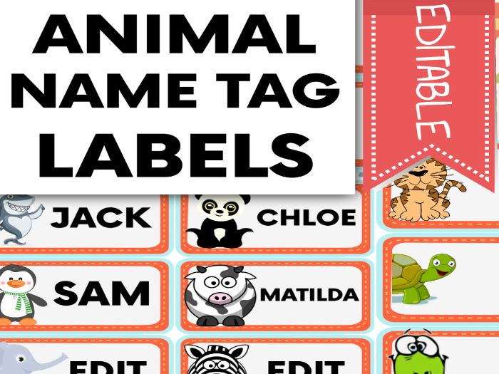 Animal Name Tags and Labels