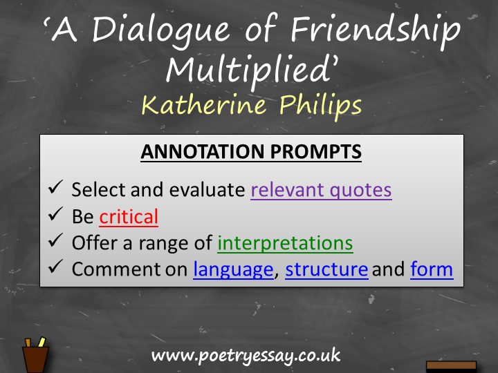 Katherine Philips – 'A Dialogue of Friendship Multiplied' – Annotation / Planning Table / Questions