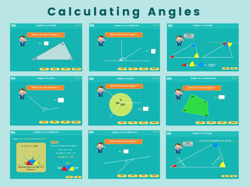 Calculating angles - year 5-6 (US 4th-5th grade)