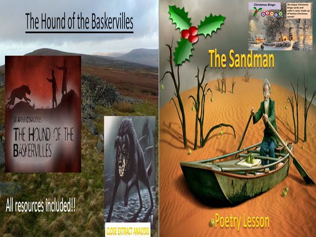 The Hound of the Baskervilles Extract Lesson + The Sandman Poetry Lesson + Bingo