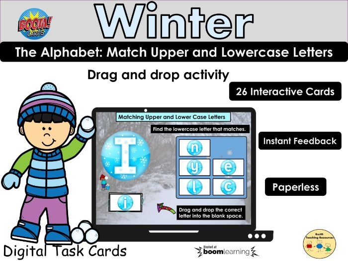 Alphabet Letter Match Upper Lowercase Winter BOOM Cards Distance Home Learning