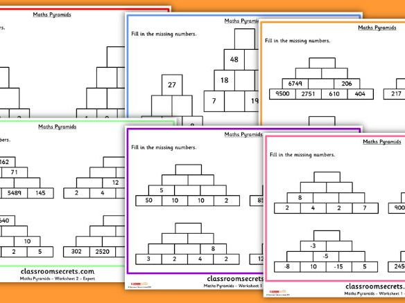 Maths Number Pyramid Worksheets