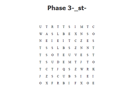 Phonics  phase 3,4 and 5 word searches