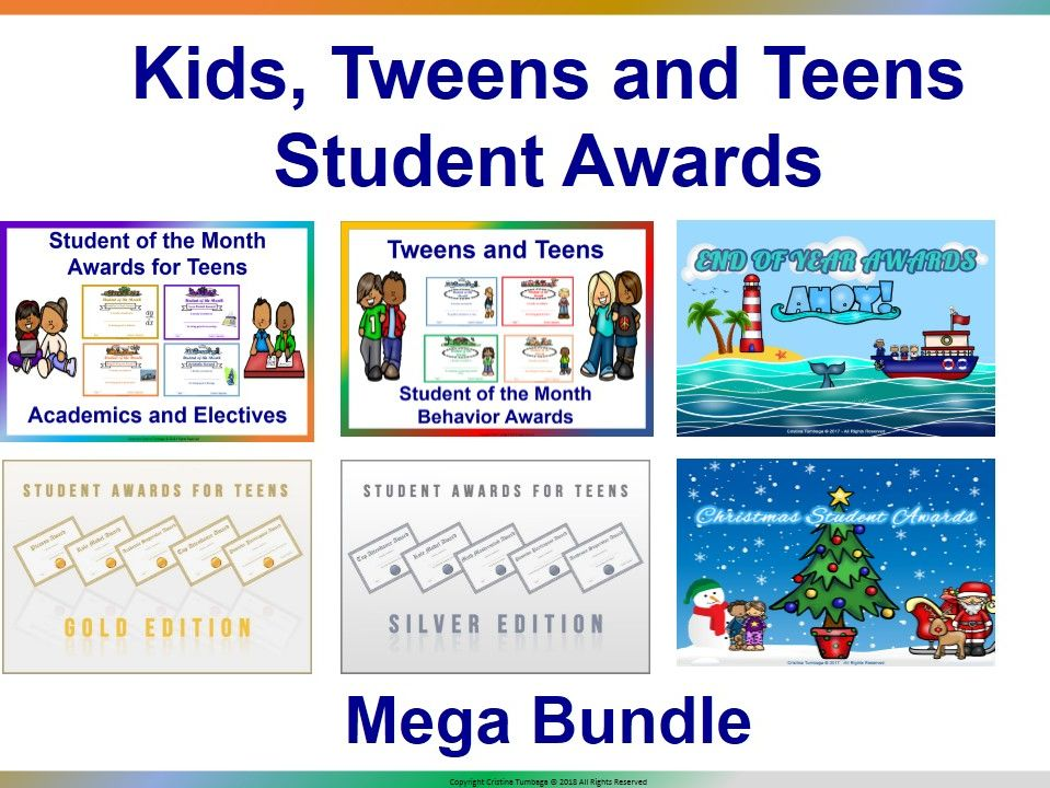 Kids, Tweens, and Teens Student Awards Mega Bundle