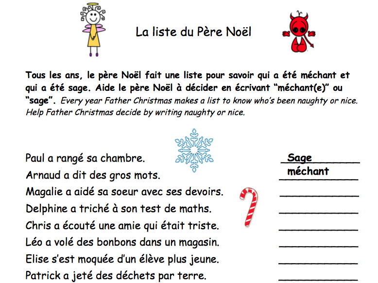Christmas Noel Reading comprehension. La liste de Noel [EDITABLE]