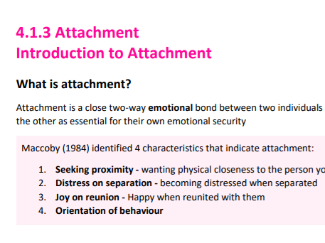 Introduction to Attachment Revision Resource - AQA Psychology