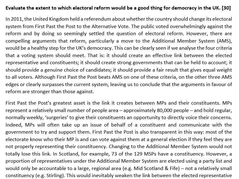 Edexcel Politics Model Essay (1400 words) - Evaluate the arguments for electoral reform