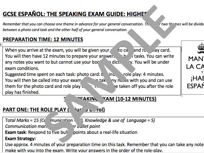 GCSE Spanish (New AQA GCSE 9-1) summary guide (foundation & higher)