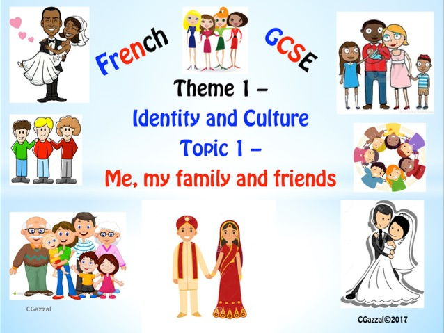 French GCSE 9 - 1 Specifications Theme 1, Topic 1 – 'me, my family and friends'.