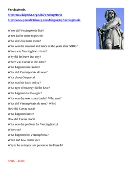 Vercingétorix French History Webquest