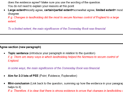 16 mark exam question planning template (Anglo-Saxon and Norman 9-1 GCSE-could be adapted)
