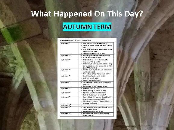 What Happened On This Day? - Autumn Term (Assembly / Lesson Ideas)