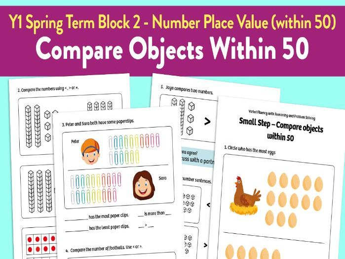 Compare Objects Within 50 activities: Y1 Spring Term, Block 2 – Number: Place Value (within 50)