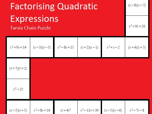 Factorising Quadratic Expressions Tarsia Puzzle - GCSE Mathematics