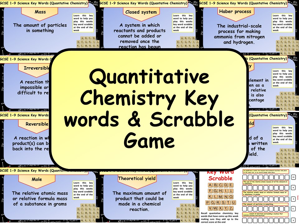 Free Quantitative Chemistry Key words & Scrabble Game by chalky1234567 | Teaching Resources