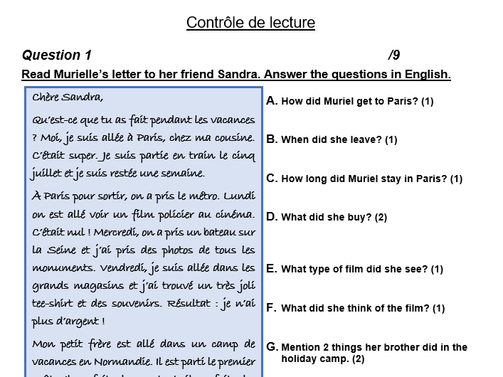 Beginner/Intermediate reading assessment