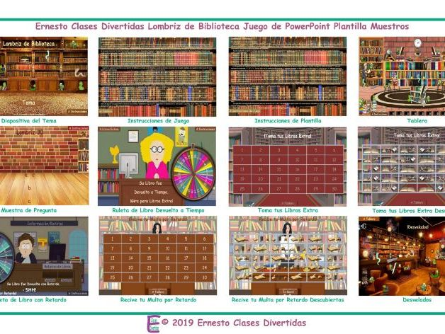 Bookworm Spanish PowerPoint Game Template READ ONLY SHOW