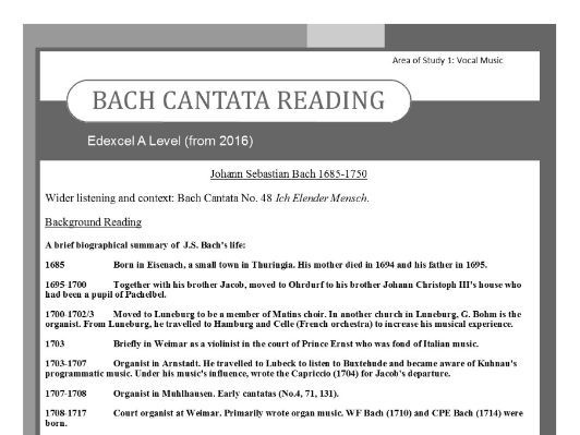 Edexcel Music A level (from 2016) Bach Cantata Wider Listening and Context