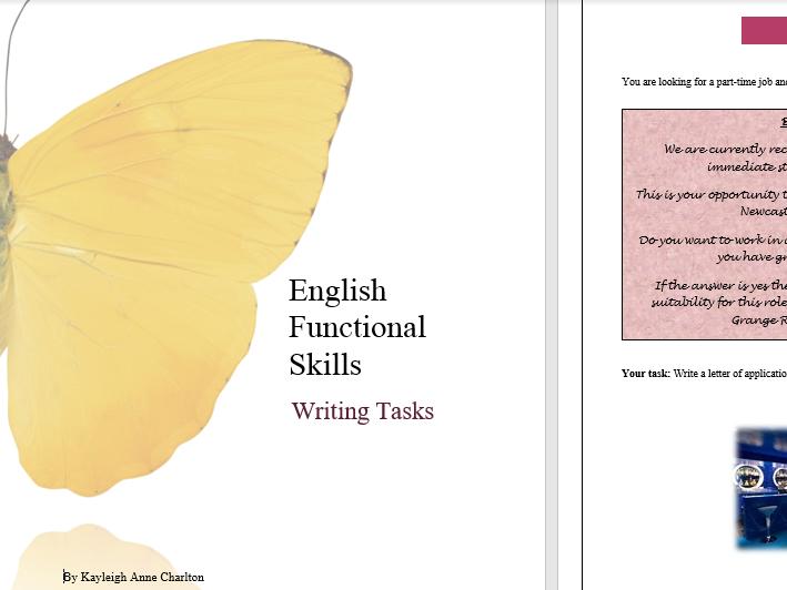 Functional Skills English Reform: Writing Tasks Level 1 ( 5 tasks)