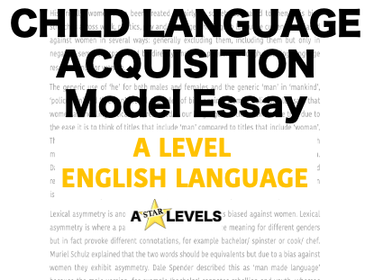 Child Language Acquisition Example Student Essay