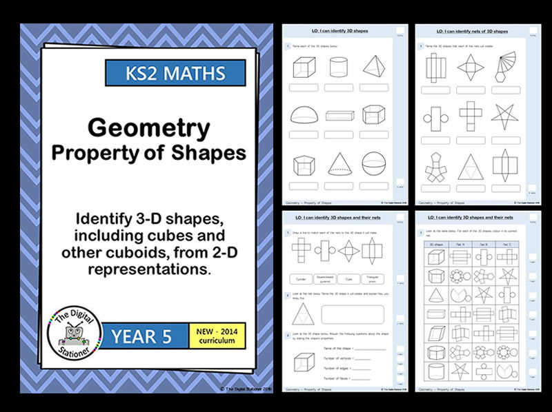 Year 5 -  Identify 3D shapes, including cubes and cuboids, from 2D representations -Geometry - Shape