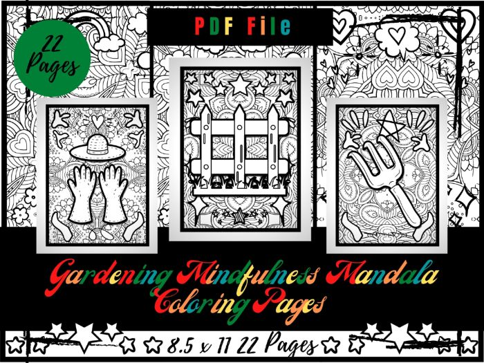 Gardening Mindfulness Mandala Colouring Pages, Printable Coloring Sheets PDF
