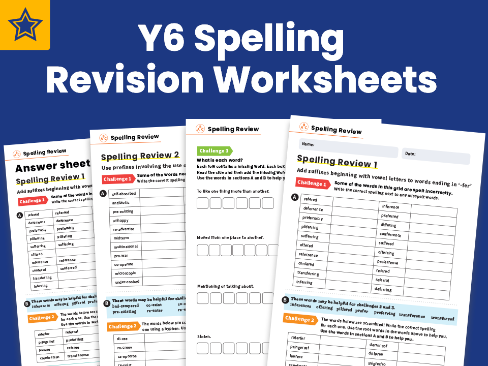 Year 6 Spelling Revision Worksheet