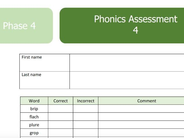 Phonics Screen Phase 4