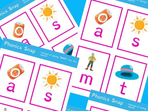 Phonics snap- Sound snap using simple sounds s, a, t, m