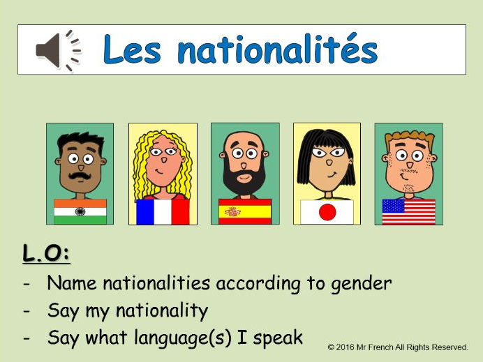 Les nationalités ( Nationalities in French) 4 lessons! Y5  4th Grade