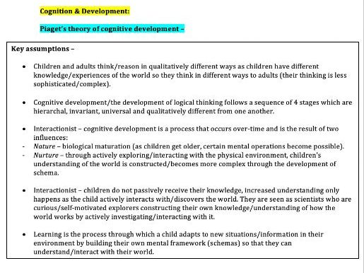 Cognition & Development Notes (AQA Psychology A-Level)