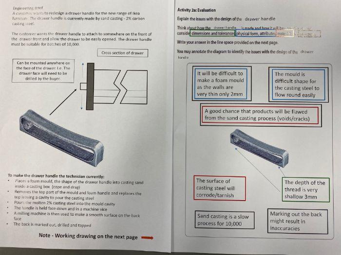 BTEC Engineering Tech Award (Mock – Drawer Handle)