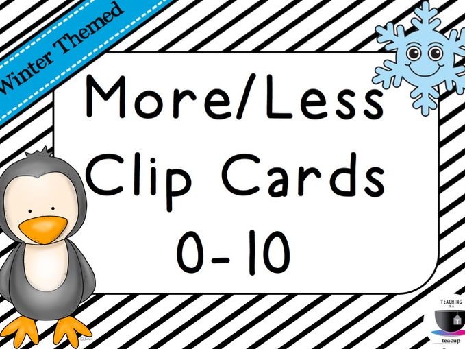 More or Less Clip Cards 0-10 - Winter Themed