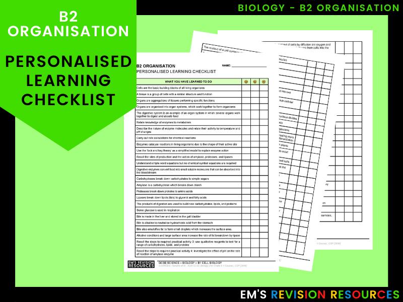 B2 Organisation [Personal Learning Checklist]