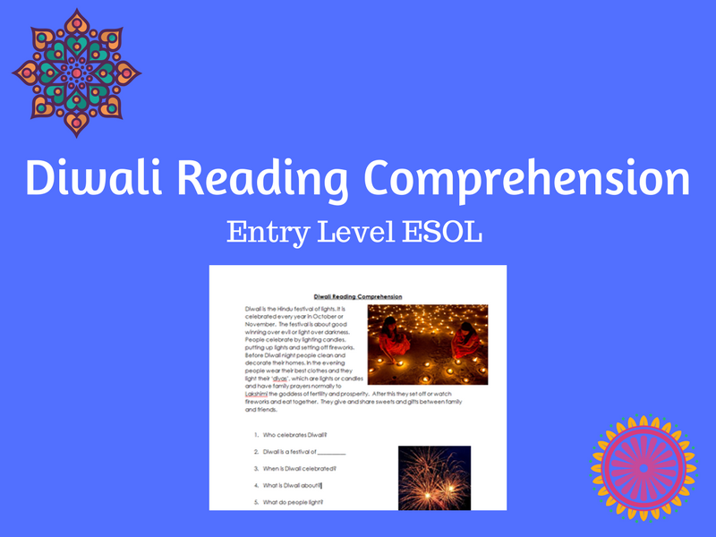 Diwali Reading Comprehension - ESOL/ESL/EAL/EFL