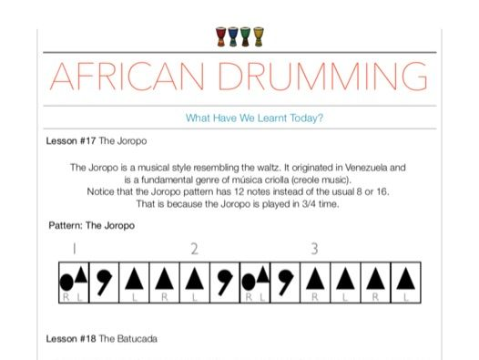African Drumming Worksheets